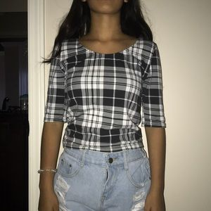 Tops - striped white black and gray crop top